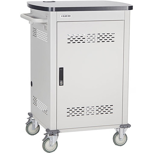 """Black Box Adjustable-Shelf 30-Slot Charging Cart for Select Devices up to 10"""" (Single-Frame, Solid Steel Hinged Door, Pop-Up Power)"""