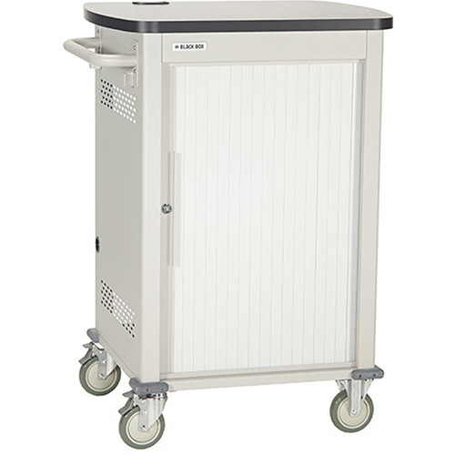 """Black Box Adjustable-Shelf 30-Slot Charging Cart for Select Devices Up to 10"""" (Single-Frame, Tambour Door)"""