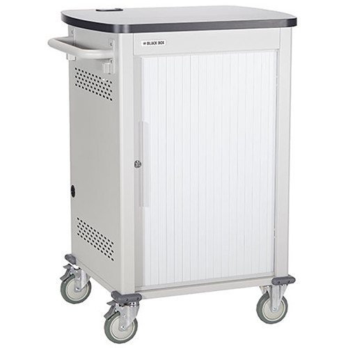"""Black Box Adjustable-Shelf 20-Slot Charging Cart for Select Devices Up to 7"""" (Single-Frame, Tambour Door)"""