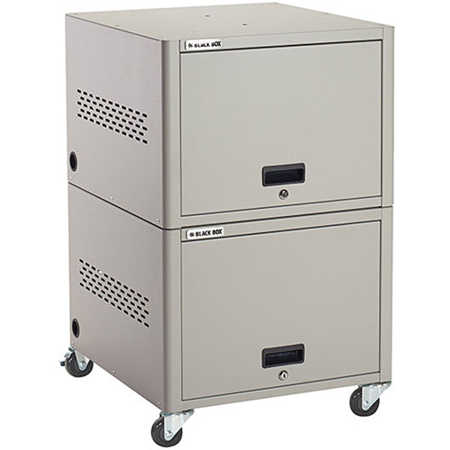 Black Box 20-Unit iPad, Chromebook Tablet, and Laptop Charging Locker (Laminate Top, Drawer, Casters)