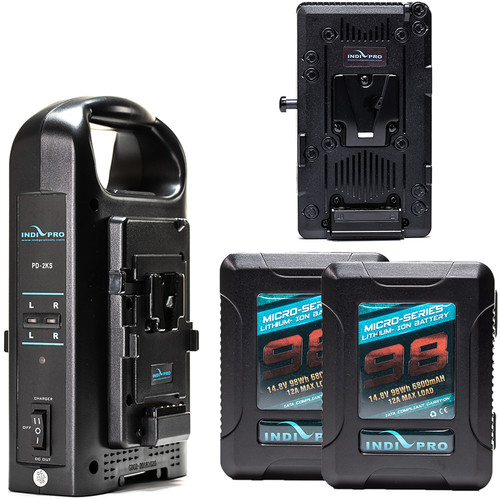 Blackmagic Design Dual IndiPro 98Wh Micro Battery Kit with URSA/Mini V-Mount Plate & Charger