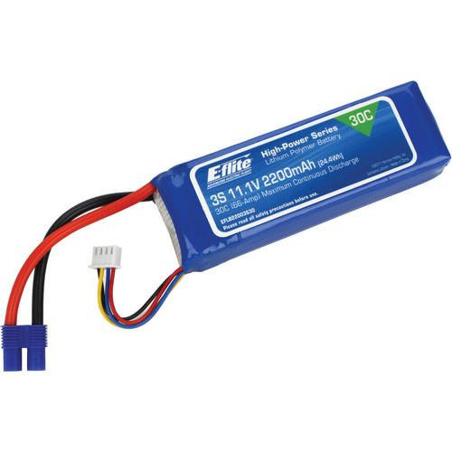 E-flite 2200mAh 3S 11.1V 30C Li-Po 13AWG EC3 Battery