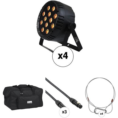Blizzard LB-Par Quad RGBW LED Light with Case, DMX Cables, and Safety Cables (4-Pack)