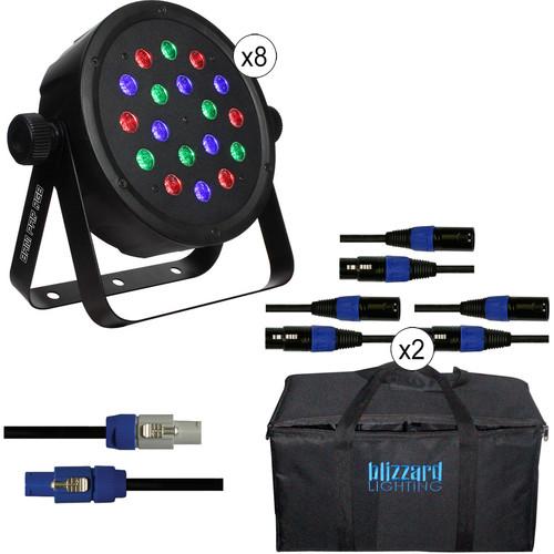 Blizzard Lighting BAM PAR RGB LED Kit with DMX Cables & Bag (8-Pack)