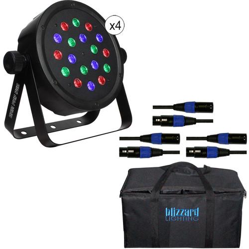 Blizzard Lighting BAM PAR RGB LED Kit with DMX Cables & Bag (4-Pack)