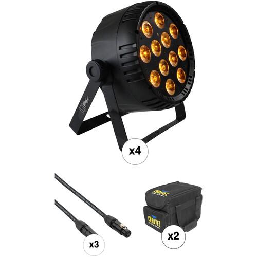 Blizzard LB-Par Hex RGBAW+UV Kit with 4 PAR Fixtures, 3 DMX Cables & Soft Case