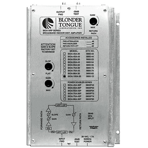 Blonder Tongue BIDA 100A-30 Two-Way Broadband Indoor Distribution Amplifier (30dB, 49-1000MHz)