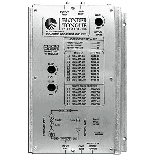 Blonder Tongue BIDA 86A-30 Two-Way Broadband Indoor Distribution Amplifier (30dB, 49-860MHz)
