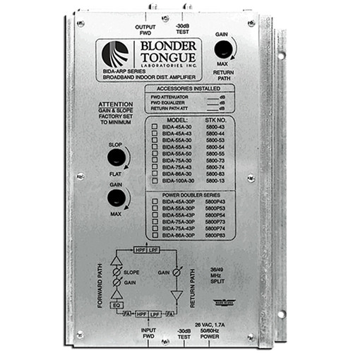 Blonder Tongue BIDA 86-A43 Two-Way Broadband Indoor Distribution Amplifier (43dB, 49-860MHz)