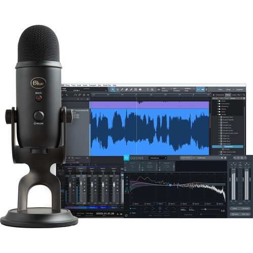 Blue Yeti Professional Recording Kit for Vocals with USB Mic & Software (Blackout)