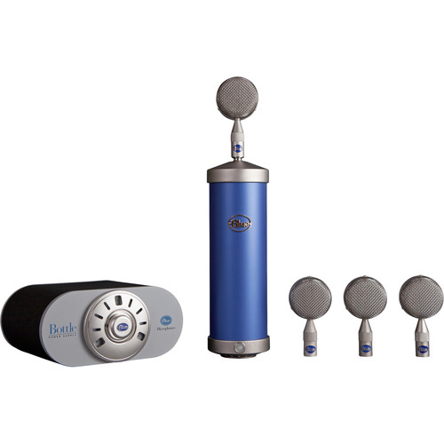 Blue Bottle Tube Mic Locker with 4 Bottle Caps