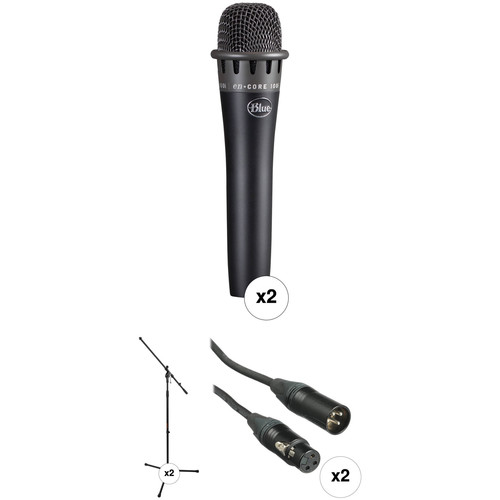 Blue Dual enCORE 100i Dynamic Instrument Microphones with Stands Kit (Black)