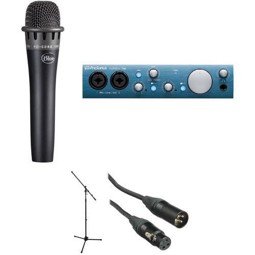 Blue enCORE 100i Dynamic Instrument Microphone with Recording Interface and Stand Kit (Black)