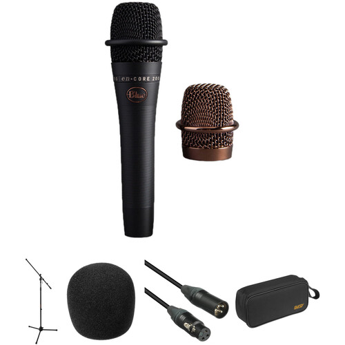 Blue enCORE 200 Active Dynamic Handheld Vocal Microphone with Mic Stand and Accessories Kit (Black)