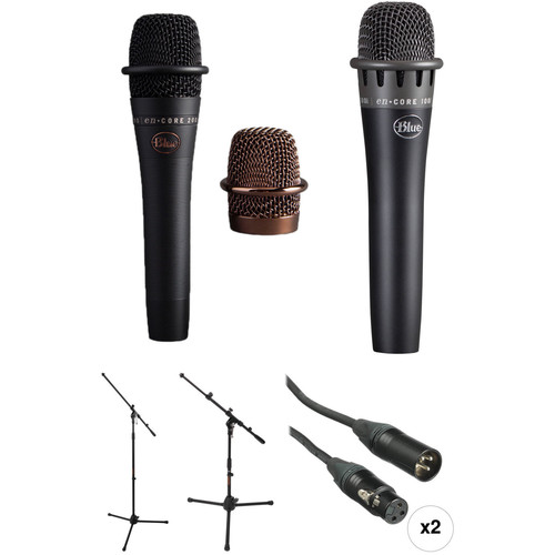 Blue enCORE 200 and enCORE 100i Microphones with Stands Kit (Black)