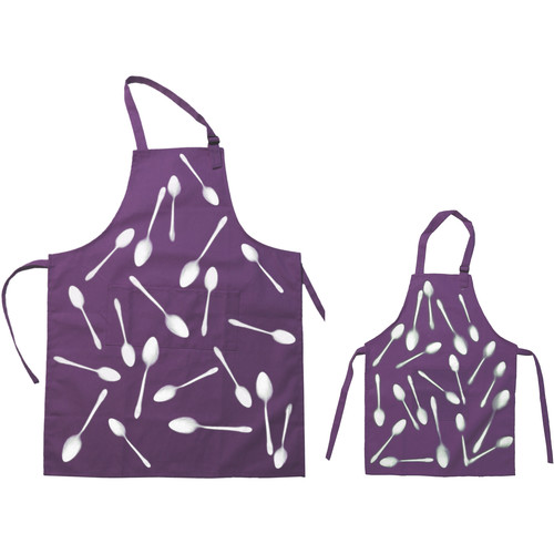 Cyanotype Store Cyanotype Apron (Adult- & Kids-Set, Plum)