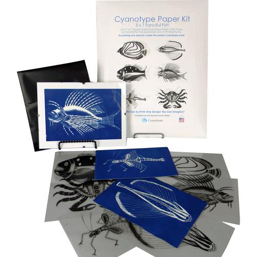 "Cyanotype Store Cyanotype Paper & Fanciful Fish Transparencies Kit (5x7"", White)"