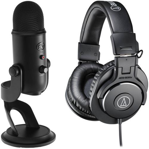 Blue Yeti Blackout USB Microphone Kit with Assassin's Creed Origins Bundle & Monitor Headphones