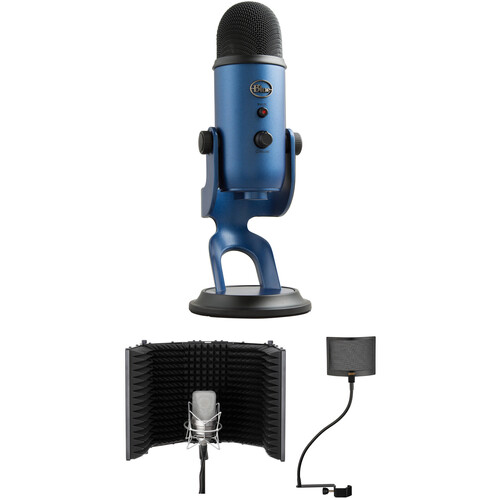 Blue Yeti USB Mic Kit with Windscreen and Reflection Filter (Midnight Blue)
