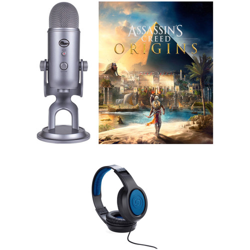 Blue Yeti USB Microphone Kit with Assassin's Creed Odyssey and Over-Ear Headphones