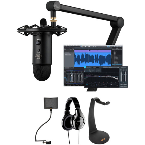 Blue Yeticaster Professional Broadcast Kit with Shure SRH240A Headphones, Shockmount, Boom Arm, Pop Filter & Headphone Stand