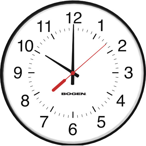 "Bogen Communications BCAW Analog 12"" Round Clock, Wi-Fi Thinline (Black Case)"