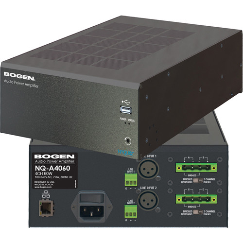 Bogen Communications Nyquist 4-Channel 600W 2U Audio Power Amp