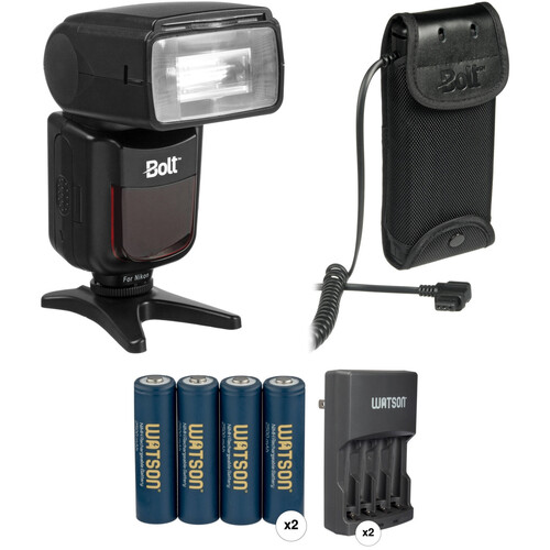 Bolt VX-710N TTL Flash for Nikon Kit with Compact Battery Pack, Rapid Chargers and AA Batteries