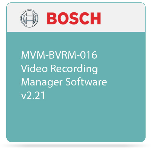 Bosch MVM-BVRM-016 Video Recording Manager Software v2.21