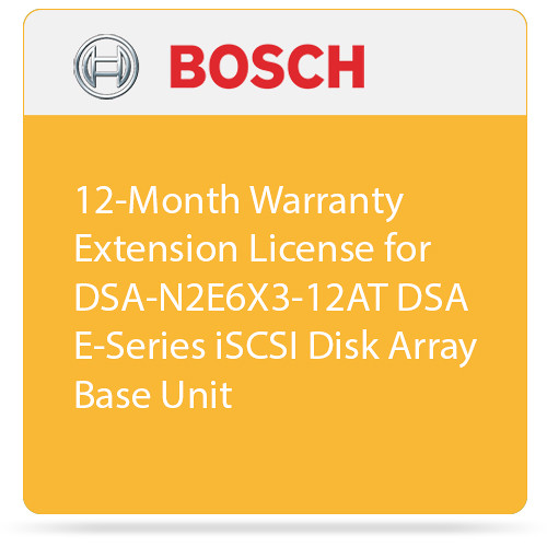 Bosch 12-Month Warranty Extension License for DSA-N2E6X3-12AT DSA E-Series iSCSI Disk Array Base Unit