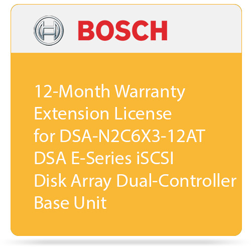 Bosch 12-Month Warranty Extension License for DSA-N2C6X3-12AT DSA E-Series iSCSI Disk Array Dual-Controller Base Unit