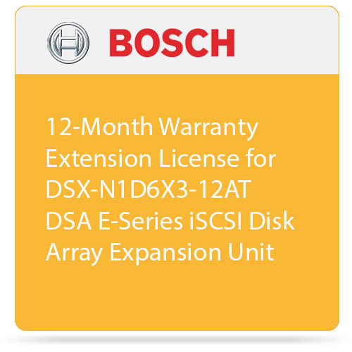 Bosch 12-Month Warranty Extension License for DSX-N1D6X3-12AT DSA E-Series iSCSI Disk Array Expansion Unit