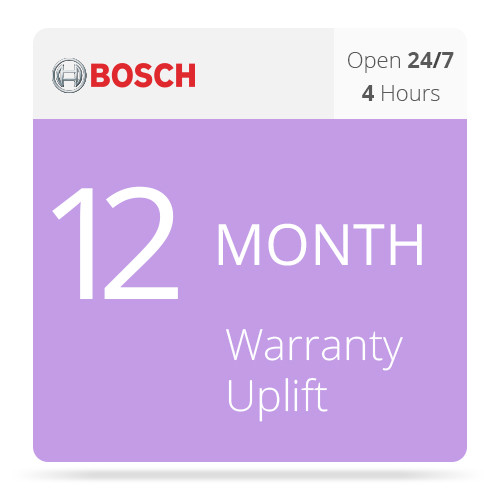 Bosch 12-Month Warranty Upgrade: 4-Hour Delivery of Replacement Parts Only for DSA E-Series DSA-N2C6X3-12AT Dual Controller Base Unit (12 x 3TB)