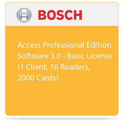 Bosch Access Professional Edition Software 3.0 - Basic License (1 Client, 16 Readers, 2000 Cards)
