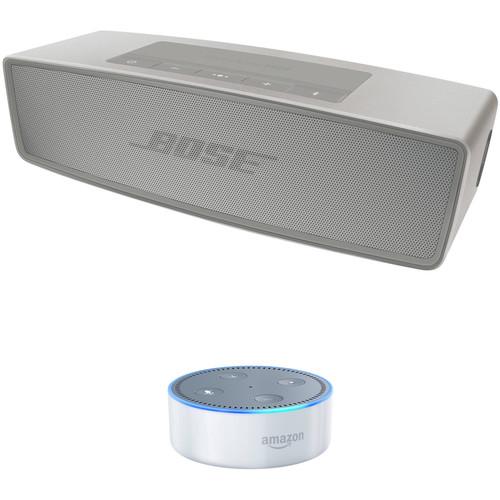 Bose SoundLink Mini Bluetooth Speaker II (Pearl) with Amazon Echo Dot (2nd Gen, White) Kit