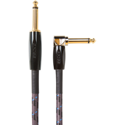 """Boss BIC-15A Instrument Cable, Straight to Right-Angle 1/4"""" Connectors (15')"""