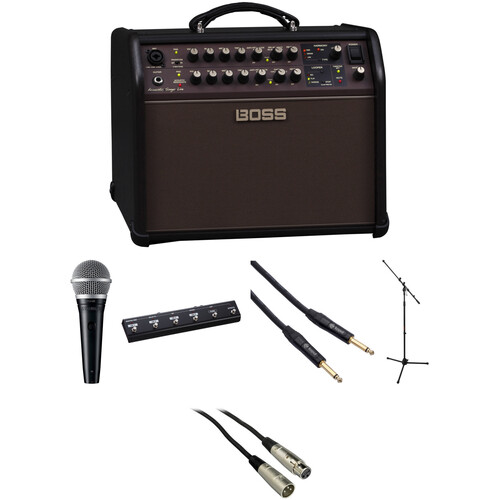 BOSS ACS Live 60W Combo Amp Kit with Shure Microphone and More