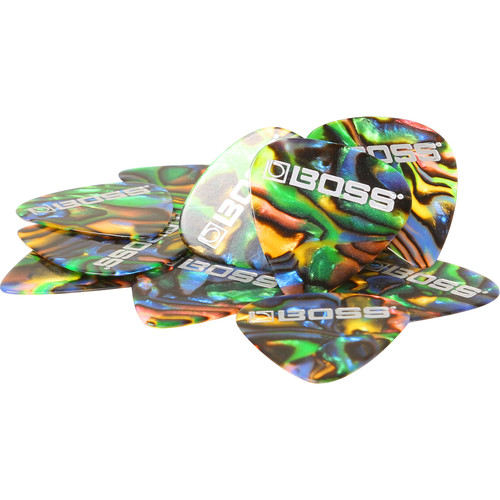 BOSS BPK-12-AM Medium Celluloid Guitar Picks (Abalone, 12-Pack)