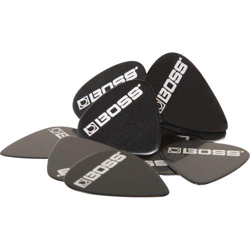BOSS BPK-12-BM Medium Celluloid Guitar Picks (Black, 12-Pack)