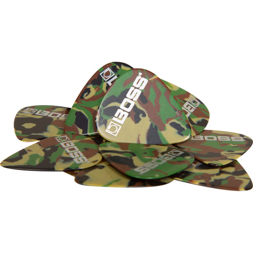 BOSS BPK-72-CH Heavy Celluloid Guitar Picks (Camo, 72-Pack)