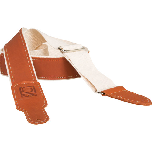 BOSS BSH-20-NAT Natural Cotton Instrument Strap with Leather End Tabs (Natural/Brown)