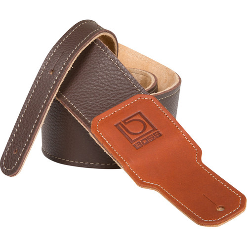 "BOSS BSL-25-BRN Leather Instrument Strap, (2.5"" Width, Brown)"