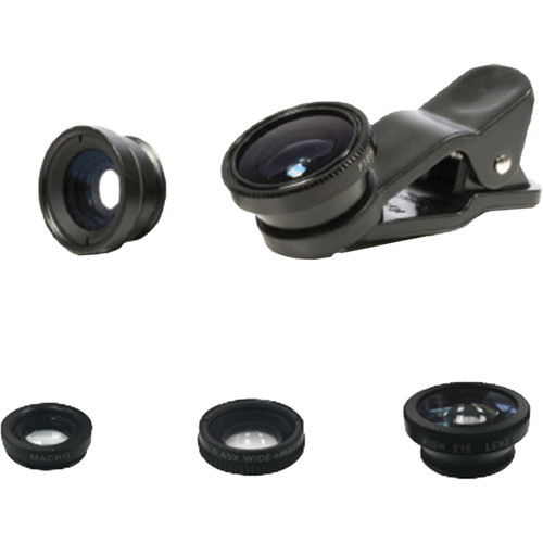 Bower 3-Piece Lens Kit for Smartphones (Fisheye, Wide-Angle, and Macro)