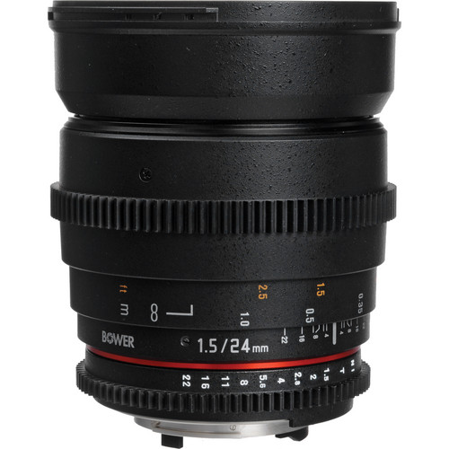 Bower 24mm T1.5 Ultra-Fast Wide-Angle Cine Lens For Nikon F Mount Cameras
