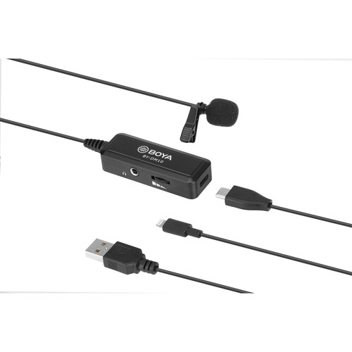 BOYA BY-DM10 Digital Lavalier Microphone with Monitoring & Lightning and USB Type-A Cables