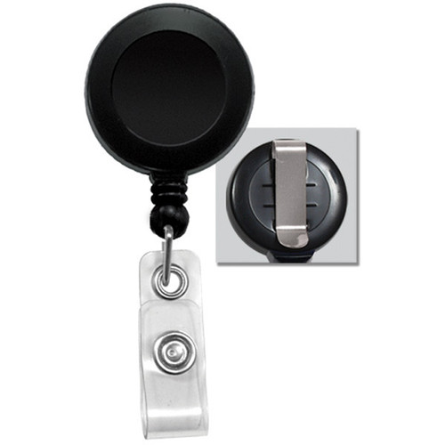 BRADY PEOPLE ID Badge Reel with Clear Vinyl Strap & Belt Clip (Black, 25-Pack)