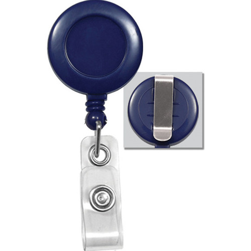BRADY PEOPLE ID Badge Reel with Clear Vinyl Strap & Belt Clip (Royal Blue, 25-Pack)