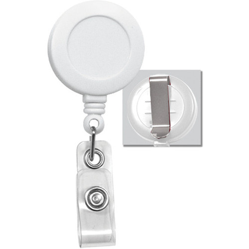 BRADY PEOPLE ID Badge Reel with Clear Vinyl Strap & Belt Clip (White, 25-Pack)
