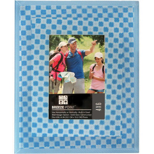 """Breeze Point 3D Depth Effect """"Cube"""" Pattern Photo Frame with Glass Protective Face (4 x 6"""", Blue)"""