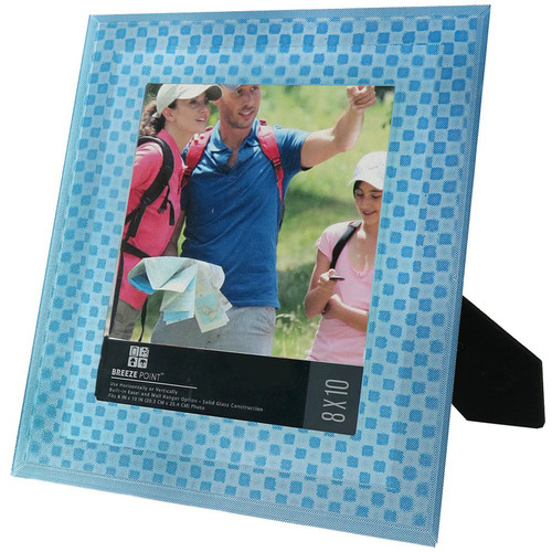 """Breeze Point 3D Depth Effect """"Cube"""" Pattern Photo Frame with Glass Protective Face (8 x 10"""", Blue)"""